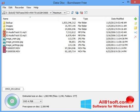 Screenshot BurnAware Free für Windows 8.1