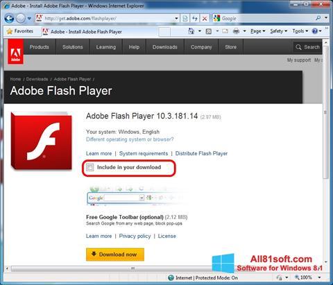 Screenshot Adobe Flash Player für Windows 8.1