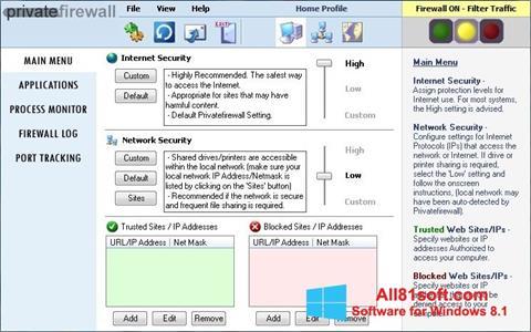 Screenshot Privatefirewall für Windows 8.1