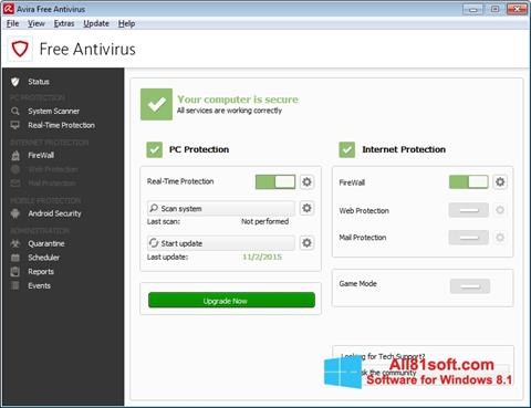 Screenshot Avira Free Antivirus für Windows 8.1