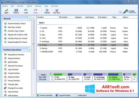 Screenshot AOMEI Partition Assistant für Windows 8.1