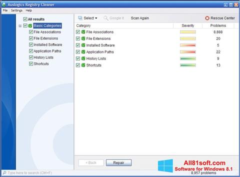 Screenshot Auslogics Registry Cleaner für Windows 8.1