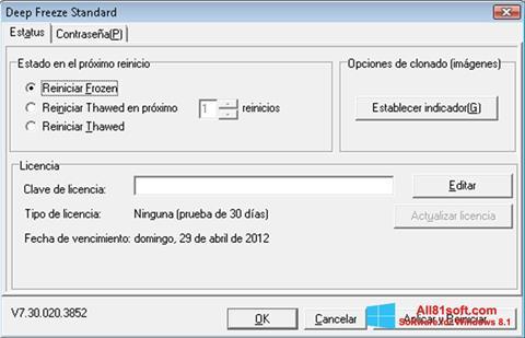 Screenshot Deep Freeze für Windows 8.1