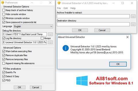 Screenshot Universal Extractor für Windows 8.1