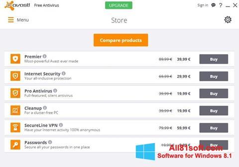 Screenshot Avast Free Antivirus für Windows 8.1