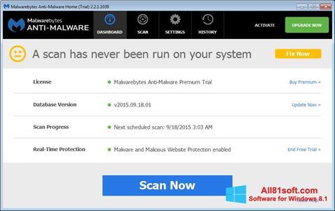 Screenshot Malwarebytes Anti-Malware Free für Windows 8.1
