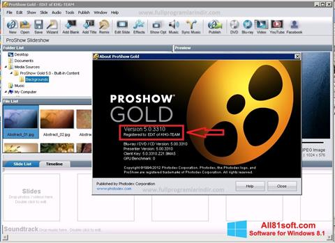Screenshot ProShow Gold für Windows 8.1