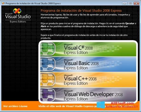 Screenshot Microsoft Visual Studio für Windows 8.1