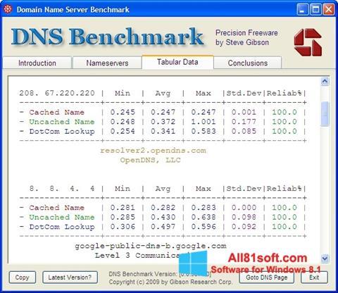 Screenshot DNS Benchmark für Windows 8.1
