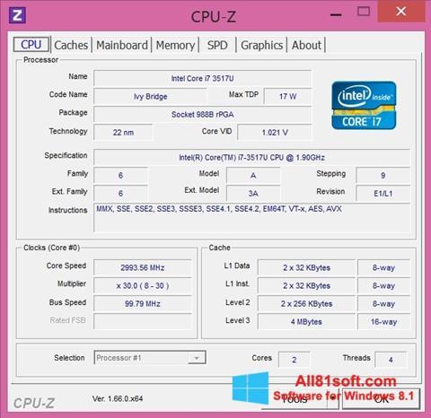 Screenshot CPU-Z für Windows 8.1
