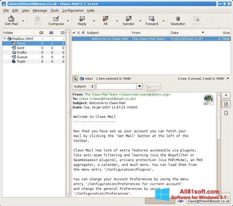 Screenshot Claws Mail für Windows 8.1