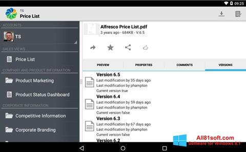 Screenshot Alfresco für Windows 8.1