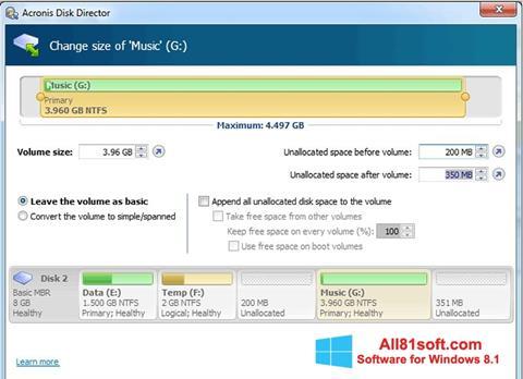 Screenshot Acronis Disk Director für Windows 8.1