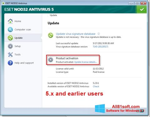 Screenshot ESET NOD32 für Windows 8.1