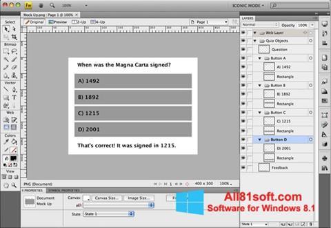 Screenshot Adobe Fireworks für Windows 8.1