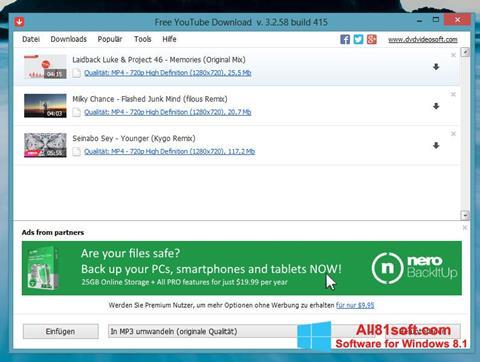 Screenshot Free YouTube Download für Windows 8.1