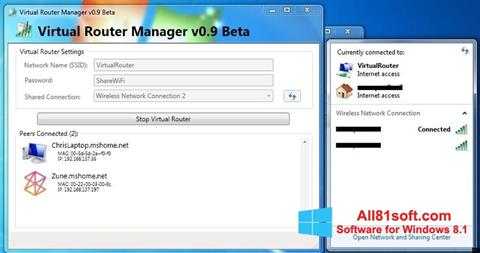 Screenshot Virtual Router Manager für Windows 8.1