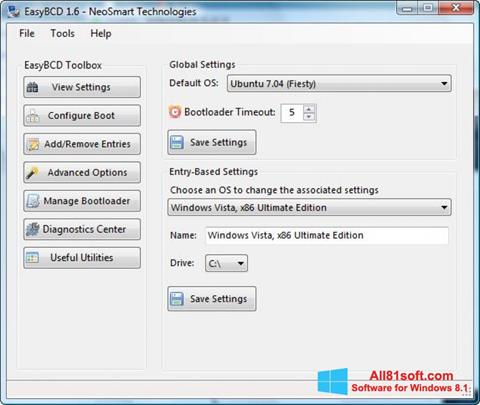 Screenshot EasyBCD für Windows 8.1