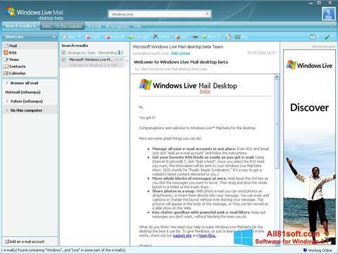 Screenshot Windows Live Mail für Windows 8.1