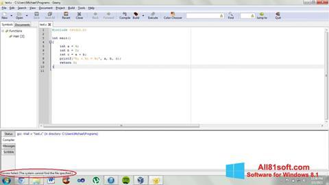 Screenshot Geany für Windows 8.1