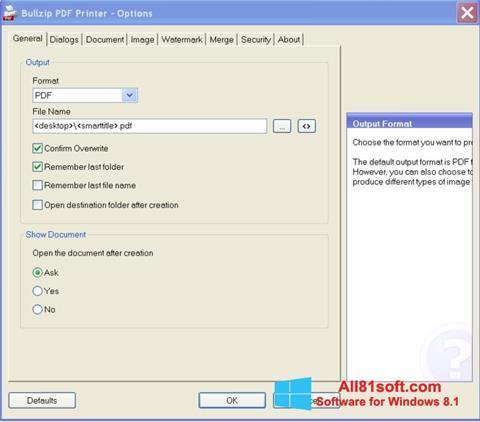 Screenshot BullZip PDF Printer für Windows 8.1