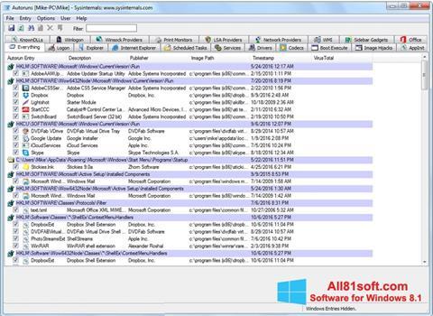 Screenshot AutoRuns für Windows 8.1
