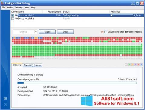 Screenshot Auslogics Disk Defrag für Windows 8.1
