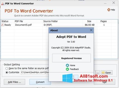 Screenshot PDF to Word Converter für Windows 8.1