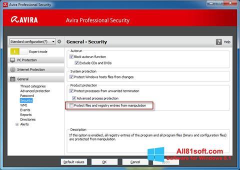 Screenshot Avira Professional Security für Windows 8.1