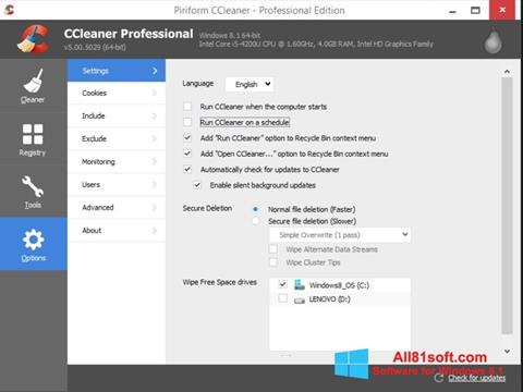 Screenshot CCleaner für Windows 8.1