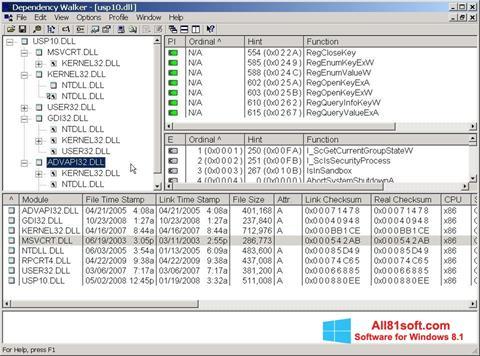 Screenshot Dependency Walker für Windows 8.1