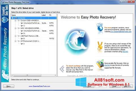 Screenshot Easy Photo Recovery für Windows 8.1