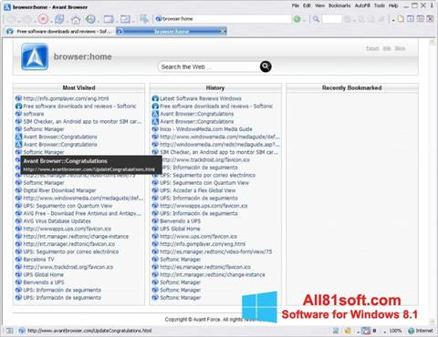 Screenshot Avant Browser für Windows 8.1