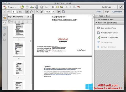 Screenshot Adobe Acrobat für Windows 8.1