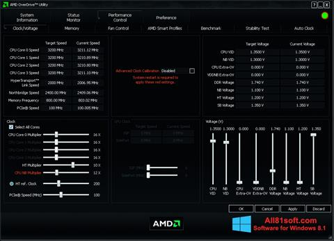 Screenshot AMD Overdrive für Windows 8.1
