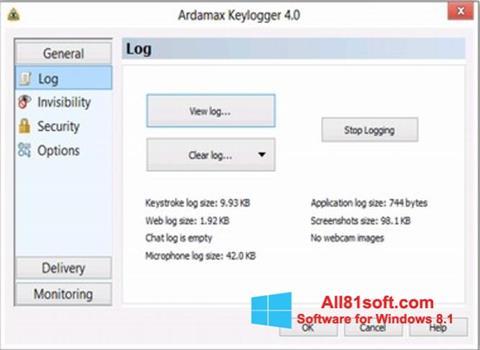 Screenshot Ardamax Keylogger für Windows 8.1
