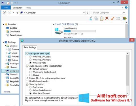 Screenshot Classic Shell für Windows 8.1